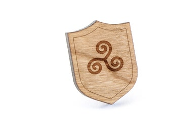 Triskele Lapel Pin, Wooden Pin, Wooden Lapel, Gift For Him or Her, Wedding Gifts, Groomsman Gifts, and Personalized