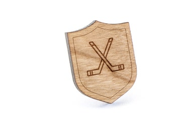 Hockey Sticks Lapel Pin, Wooden Pin, Wooden Lapel, Gift For Him or Her, Wedding Gifts, Groomsman Gifts, and Personalized