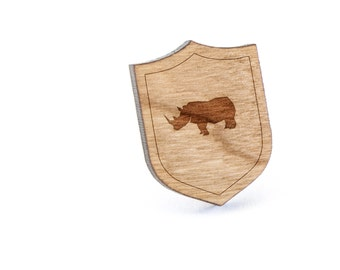 Rhinocerus Lapel Pin, Wooden Pin, Wooden Lapel, Gift For Him or Her, Wedding Gifts, Groomsman Gifts, and Personalized
