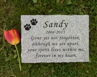 "12"" x 8"" Granite Rectangle Pet Memorial Stone - Free Shipping"