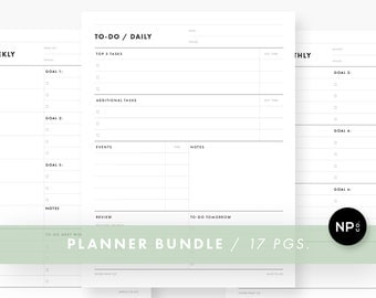 Minimalist Planner Bundle - Printable PDF - Instant Download - Daily, Weekly, Monthly, Yearly To-Do Lists, Calendar - Productivity