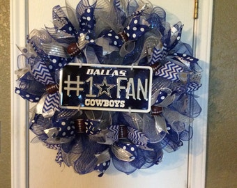 Dallas Cowboys Wreath-Dallas Cowboys-Dallas Cowboys Deco Mesh Wreath