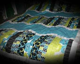 WORK IN PROGRESS - Handcrafted Turquoise, Green and Black Quilt
