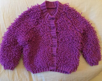 Hand Knitted Purple Cardigan