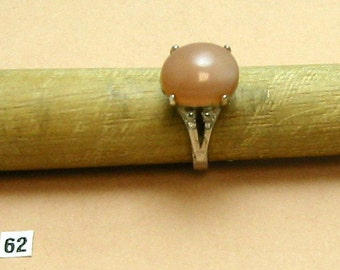 Moonstone Light Peach, Cast Sterling Silver, Excellent Showy Ring. Size 6 1/4