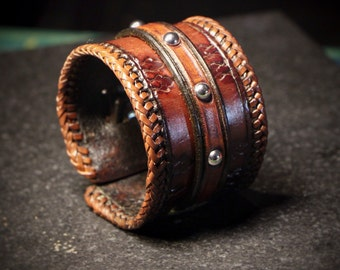 Leather Cuff Bracelet • Hand Tooled • Handmade • TM1