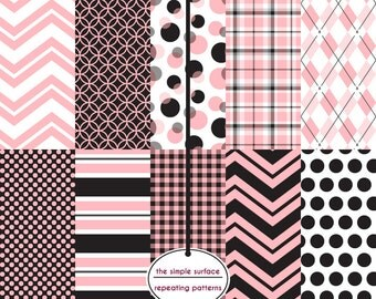 digital scrapbook papers - pink and black, chevron, plaid, argyle, gingham and polka dot patterns - INSTANT DOWNLOAD