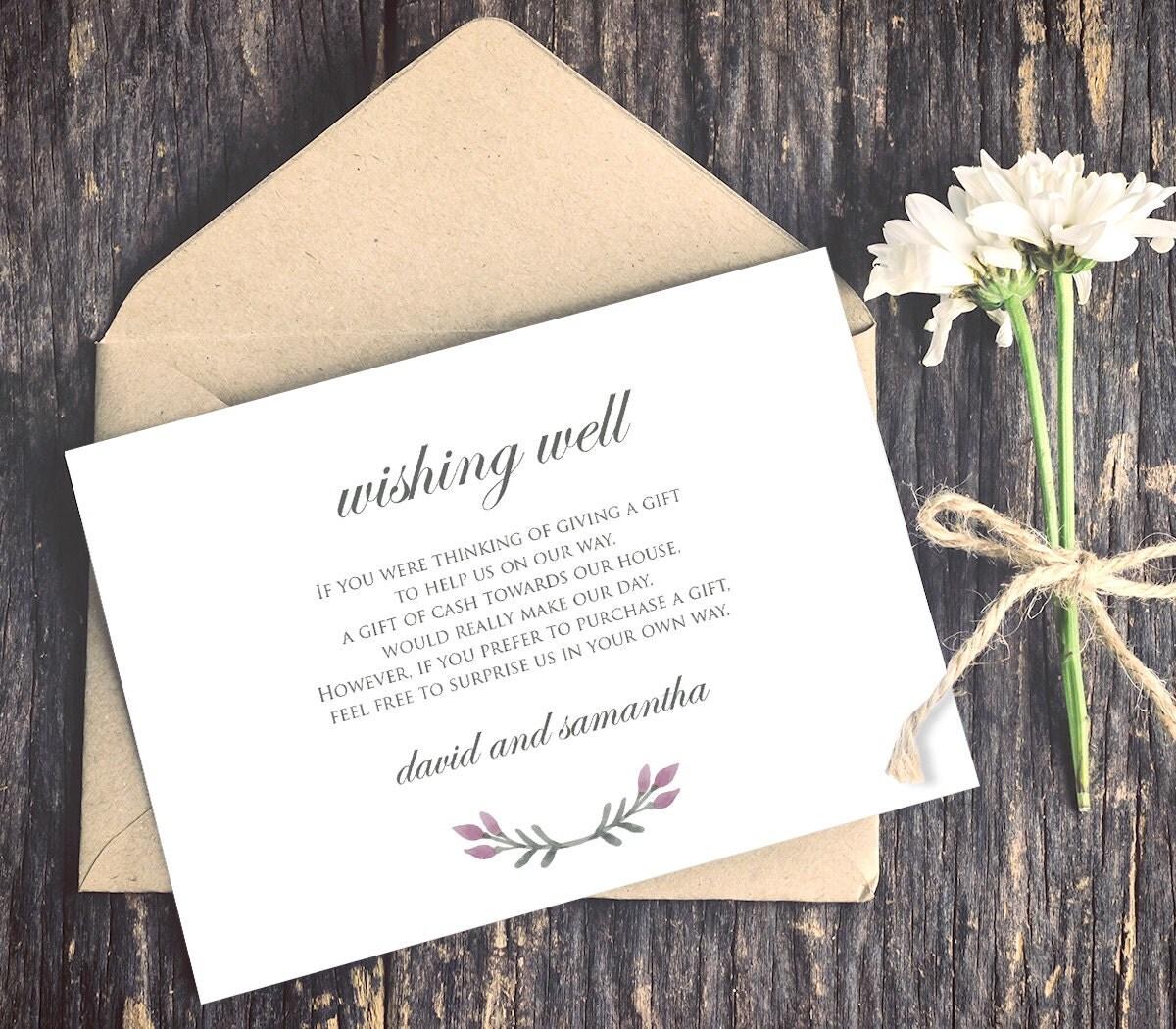 wedding wishing well card template lieu wishing well wedding Wedding Wishing Well Card Template Lieu of Gifts Poem INSTANT DOWNLOAD Editable Text DiY Wedding Insert PDF Template Digital Download