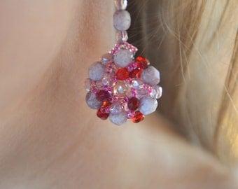 Pink rosette dangle earring