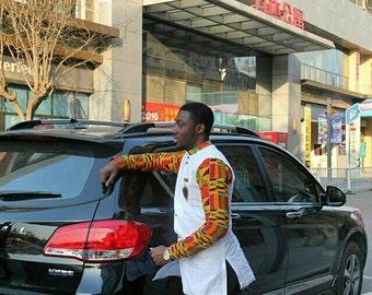 Kente & white African Wear;African Clothing; Men's Fashion Wear;Kente; African