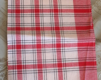Vintage Red, Black and White Plaid Kitchen Towel