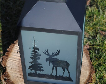 Frosted glass black lantern