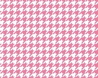 Riley Blake, Houndstooth, Hot Pink and White, fabric by the yard
