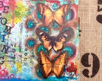 Becoming is a original piece of art. It is made on a deep sided 6x6 canvas