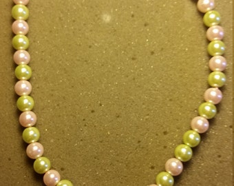 Flower Child Green and Pink Pearl Necklace