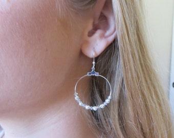Silver & Crystal Beaded Hoops, SE-110