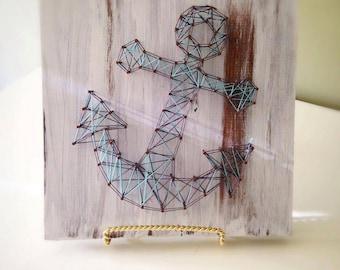 Anchor String Art Sign, Wooden Beach House Sign, String Nautical Wall Art,  Beach