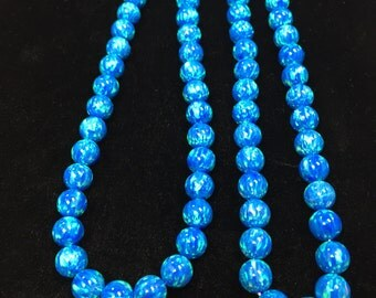 5MM rd beads Synthetic Blue Opal