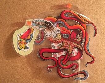 Custom Keychains - Cuttlefish and Octopi