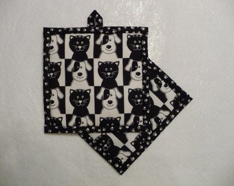 Dog and Cat Pot Holder, Dog and Cat Hot Pad, Dog and Cat Potholder
