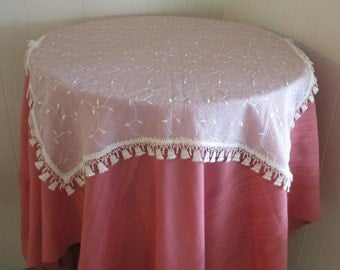 SALE: Vintage Luncheon Tablecloth Sheer Fabric With Fringe, Elegant Vintage Table Topper, Small Tablecloth, Table Toppers