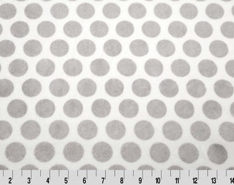 """Minky Cuddle Mod Dot Silver/Snow Fabric by Shannon Fabrics 58/60"""" 100% Polyester"""