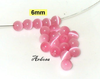 20 CAT, cat eyes, glass beads, beads 6 mm pink (K806. 91)