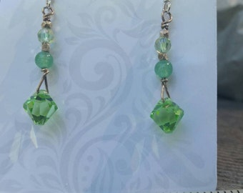 Sterling silver dangle earrings with Aventurine and Swarovski crystal.