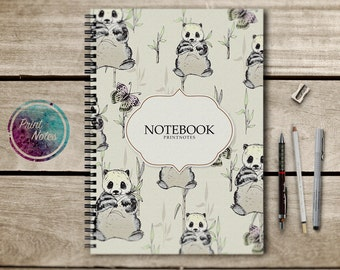 Laminated Hardcover, HQ Paper, Notebook, Sketchbook, writing journal, spiral notebook, diary, 5x8 journal, notepad, panda, planner, new york
