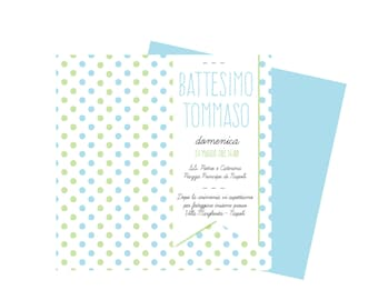 CHRISTENING BOY custom invitation blue-green