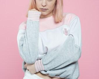 Vintage Baby Pink Color Blocked Sweatshirt