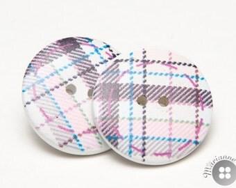 wood button earrings checkered purple blue - boucles d'oreille boutons bois mauve bleu