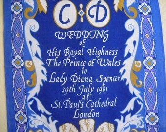 Princess Diana Souvenir Towel Charles and Diana Wedding Irish Linen