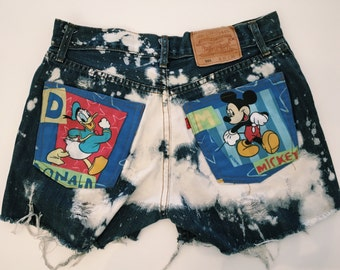 Vintage 80s 90s Denim Distressed High Waisted Shorts with Disney Patches