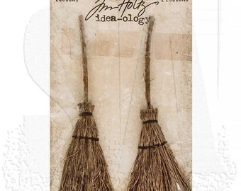New Tim Holtz Idea-ology Broomsticks - Pack of 2 - Halloween Decorations