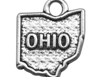 Tibetan silver color  OHIO Florida Georgia Hawaii Idaho 5-States of USA map CHARMS  to pick