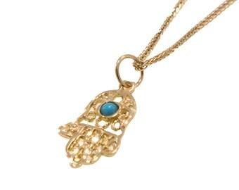 hamsa pendant,gold hamsa pendant,solid gold ,turquoise hamsa,gold turquoise hamsa,solid gold pendant,small hamsa pendant,simple gold pendant