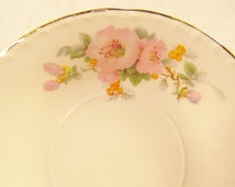 Pink Hibiscus dessert plate, Crooksville China Co pink flower butter plates, set of 6, hibiscus flower side plate,cottage chic,garden style
