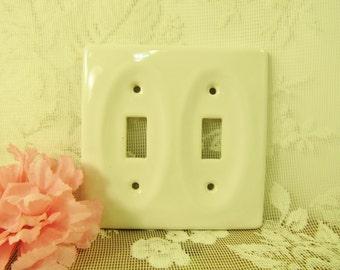 White Porcelain Double Switchplate, Vintage Shabby Chic decor, Cottage White simple light  two switch, coastal cottage, English Cottage