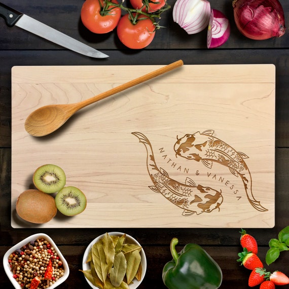 Koi fish with personalized name and date cutting board wedding for Koi fish gifts