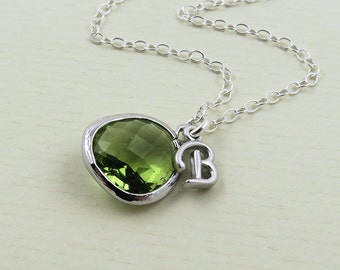 Peridot Initial Necklace, Silver Peridot Necklace, Green Jewel Necklace, Green Jewelry, Green Glass Necklace, Glass Drop Necklace