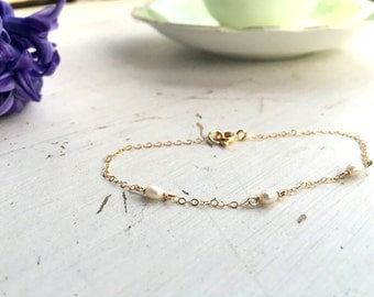 Tiny and Delicate Pearl and Gold Filled Chain Bracelet