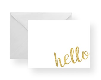 Note Cards Hello White and Gold (Set), hello stationery, gold note cards, white note cards, folded cards