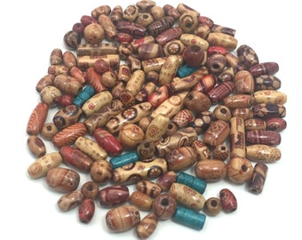 Wooden Round/Oval/Cylider Beads- Mix Patterens