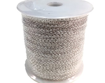 CLEARANCE! - Silver Plated Brass Rolo Soldered Chain - 2.5mm - 325 Feet