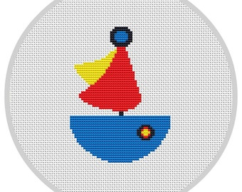 Boat Cross Stitch Pattern for baby PDF counted cross stitch pattern  Instant download Nautical decor See nursery Modern cross stitch X017