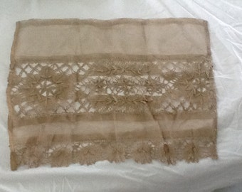 """antique, 1800's Net Lace with Flower and Leaves Crochet, Taupe Color, 20 1/2""""x16"""", Use as Doll Coverlet?"""