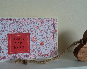 you're the best stitched greeting card