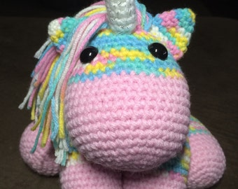 Crochet Amigurumi Rainbow Unicorn Plush Made To Order