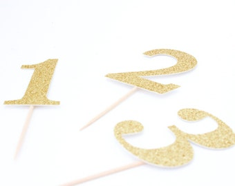 Gold Glitter First Birthday, Number Cupcake Toppers, Second Birthday, Third Birthday, one, two, three